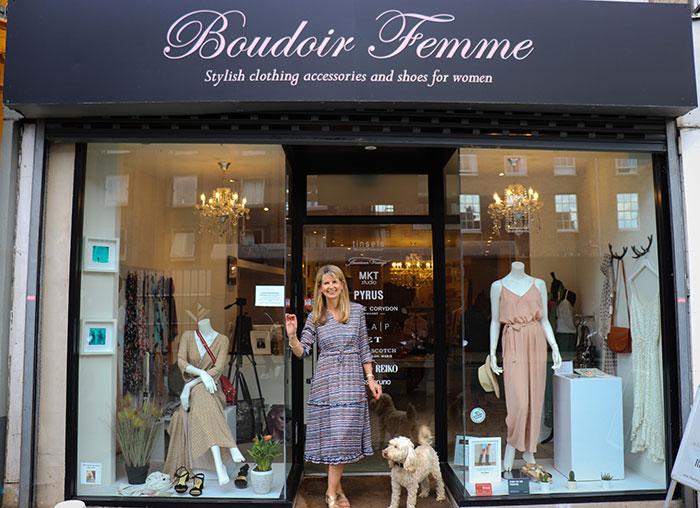 Boudoir Femme owner pippa outside of her shop