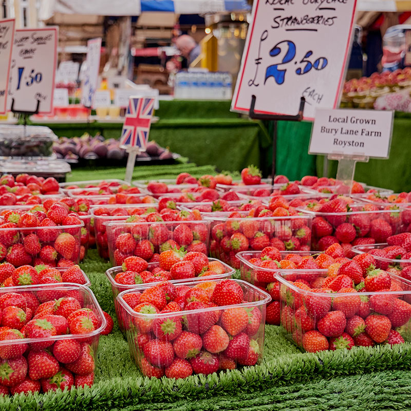 Strawberries on Cambridge market
