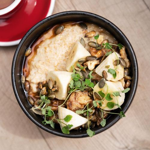 Banana chai oat milk porridge